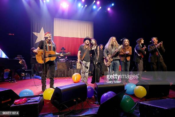 Bobbie Nelson Willie Nelson Paul English Lukas Nelson Amy Nelson Mickey Raphael Jamey Johnson Charlie Starr Micah Nelson and John Doe perform in...