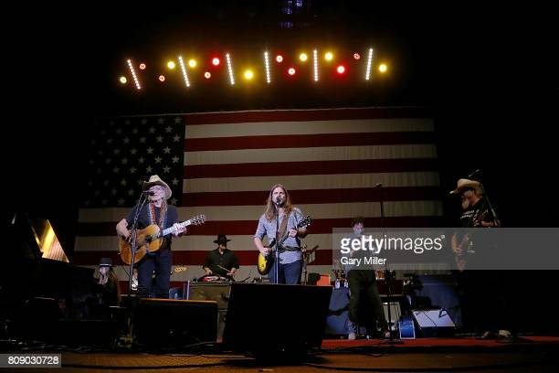 Bobbie Nelson, Willie Nelson, Paul English, Lukas Nelson, Mickey Raphael and Ray Benson perform in concert during the annual Willie Nelson 4th of...