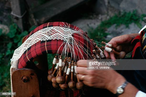 Bobbin lace-making, Cogne handicrafts, Valle d' Aosta, Italy.