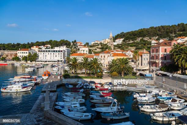 bobbing tour boats - hvar stock photos and pictures