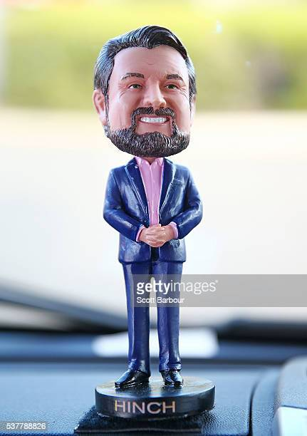 A bobblehead of Derryn Hinch of Derryn Hinch's Justice Party sits near the dashboard of his campaign Winnebago on June 3 2016 in Melbourne Australia...