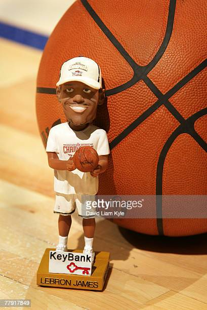 Bobblehead of LeBron James of the Cleveland Cavaliers given out prior to their game against the Orlando Magic on November 14 2007 at The Quicken...
