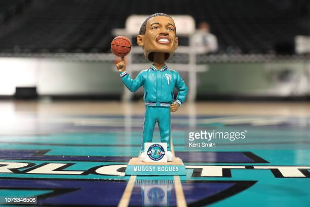 A bobblehead of Muggsy Bogues is photographed before the game between the Charlotte Hornets and New York Knicks on December 14 2018 at Spectrum...