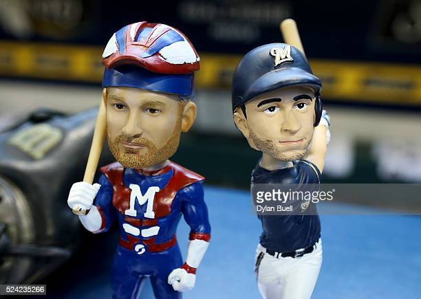 Bobbleheads for Jonathan Lucroy left and Ryan Braun of the Milwaukee Brewers sit on display at Miller Park on April 22 2016 in Milwaukee Wisconsin