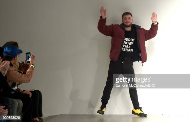 Bobby Abley walks the runway at the Bobby Abley show during London Fashion Week Men's January 2018 at BFC Show Space on January 8 2018 in London...
