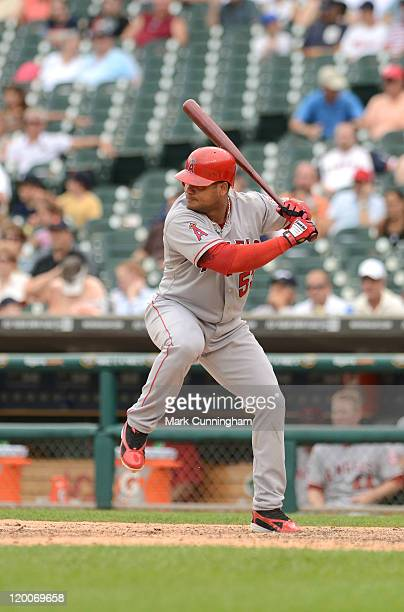 Bobby Abreu of the Los Angeles Angels of Anaheim bats during the game against the Detroit Tigers at Comerica Park on July 28 2011 in Detroit Michigan...