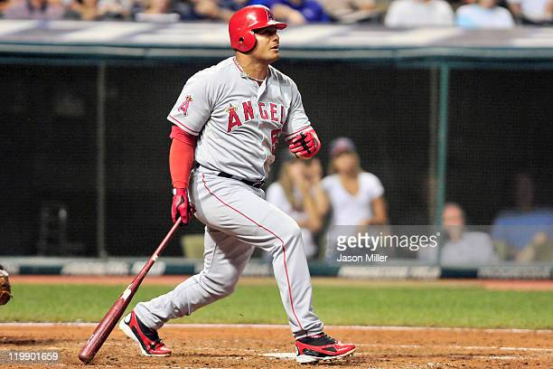 Bobby Abreu of the Los Angeles Angels of Anaheim hits a tworun home run during the eighth inning against the Cleveland Indians at Progressive Field...