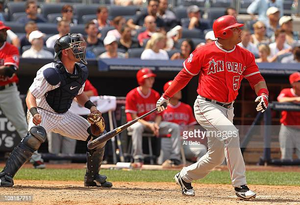 Bobby Abreu of The Los Angeles Angels of Anaheim in action against The New York Yankees during their game on July 21 2010 at Yankee Stadium in the...