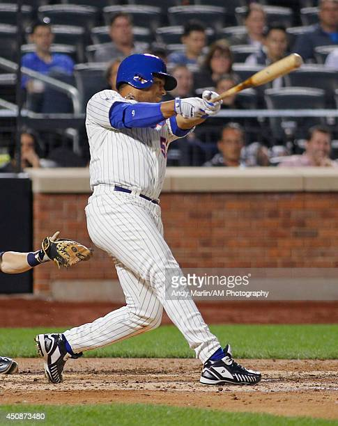 Bobby Abreu of the New York Mets bats against the Milwaukee Brewers during the game at Citi Field on June 11 2014 in the Flushing neighborhood of the...