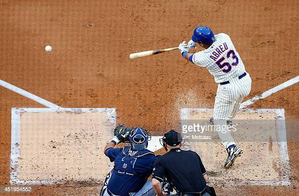 Bobby Abreu of the New York Mets in action against the Atlanta Braves at Citi Field on July 9 2014 in the Flushing neighborhood of the Queens borough...