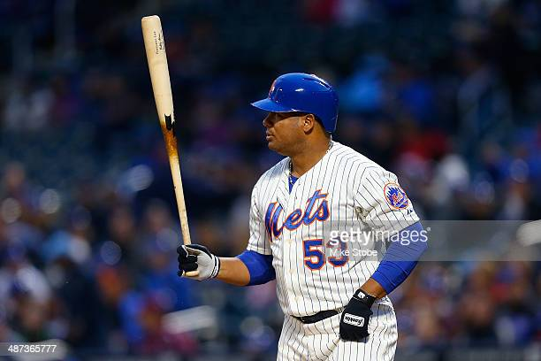 Bobby Abreu of the New York Mets in action against the Miami Marlins at Citi Field on April 26 2014 in the Flushing neighborhood of the Queens...