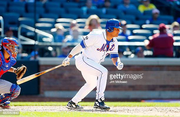 Bobby Abreu of the New York Mets in action against the Texas Rangers at Citi Field on July 6 2014 in the Flushing neighborhood of the Queens borough...
