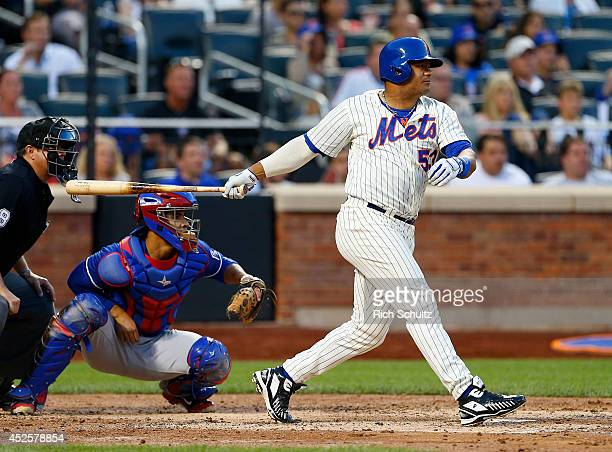 Bobby Abreu of the New York Mets in action against the Texas Rangers during a game on July 5 2014 at Citi Field in the Flushing neighborhood of the...