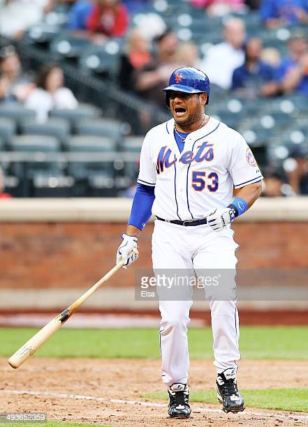 Bobby Abreu of the New York Mets reacts after he flies out in the ninth inning against the Arizona Diamondbacks on May 24 2014 at Citi Field in the...
