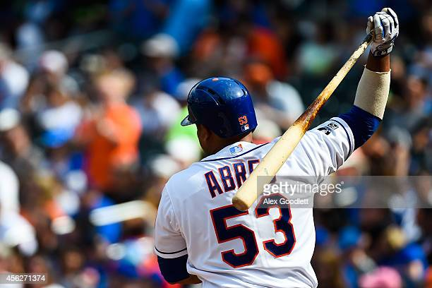Bobby Abreu of the New York Mets steps away from the plate in the first inning against the Houston Astros at Citi Field on September 28 2014 in the...