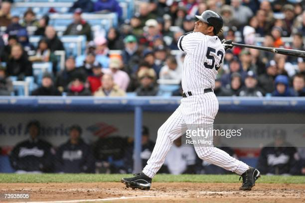 Bobby Abreu of the New York Yankees bats during the game against the Baltimore Orioles at the Yankee Stadium in the Bronx New York on April 8 2007...