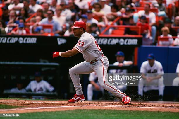 Bobby Abreu of the Philadelphia Phillies bats against the New York Mets at Shea Stadium on May 28 2001 in the Flushing neighborhood of the Queens...