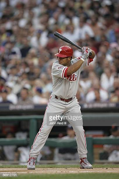 Bobby Abreu of the Philadelphia Phillies bats during the 76th AllStar Game at Comerica Park on July 12 2005 in Detroit Michigan The American League...