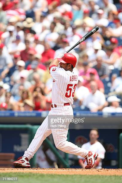 Bobby Abreu of the Philadelphia Phillies batting during the game against the Washington Nationals at Citizens Bank Park in Philadelphia Pennsylvania...