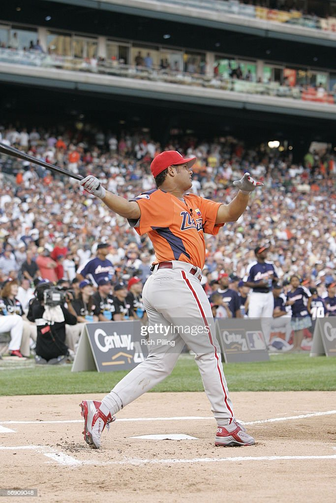 Bobby Abreu of the Philadelphia Phillies is pictured during the CENTURY 21 Home Run Derby at Comerica Park on July 11, 2005 in Detroit, Michigan.