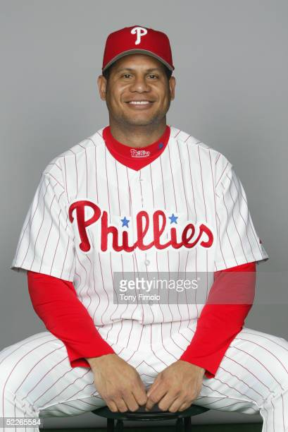 Bobby Abreu of the Philadelphia Phillies poses for a portrait during photo day at Bright House Networks Field on February 24, 2005 in Clearwater,...