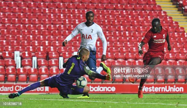 Bobby Adekanye of Liverpool and Alfie Whiteman of Tottenham Hotspur in action during the Liverpool v Tottenham Hotspur PL2 game at Anfield on August...
