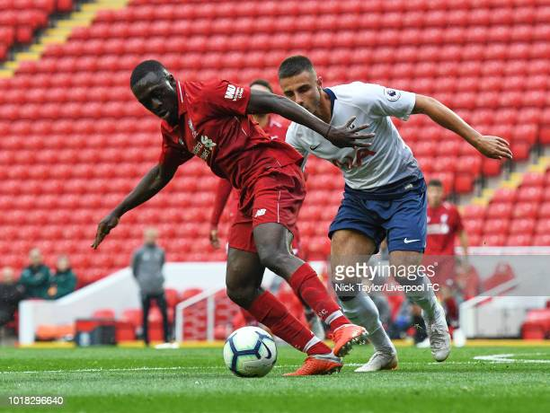 Bobby Adekanye of Liverpool and Anthony Georgiou of Tottenham Hotspur in action during the Liverpool v Tottenham Hotspur PL2 game at Anfield on...