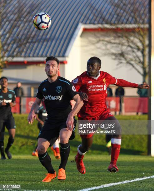 Bobby Adekanye of Liverpool and Sead Haksabanovic of West Ham United in action during the Liverpool v West Ham United PL2 game at The Kirkby Academy...