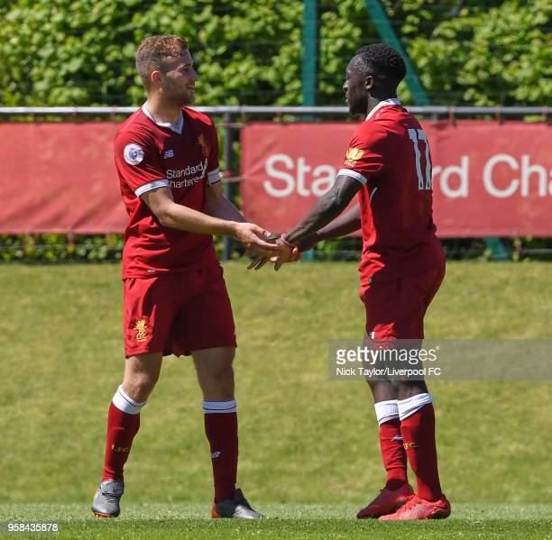 Bobby Adekanye of Liverpool celebrates his goal with Herbie Kane at The Kirkby Academy on May 14 2018 in Kirkby England