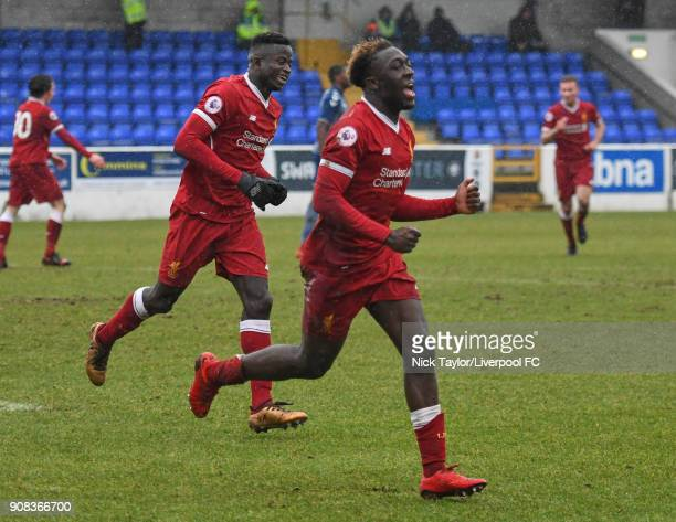 Bobby Adekanye of Liverpool celebrates scoring his second goal of the game during the Liverpool U23 v Charlton Athletic U23 Premier League Cup game...