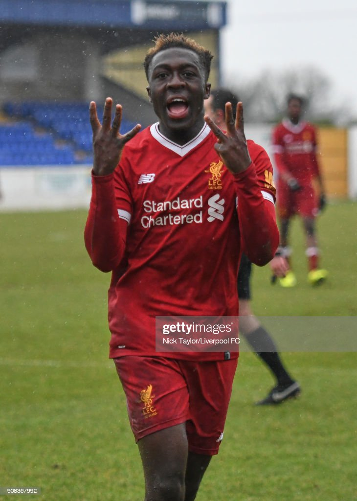 Bobby Adekanye of Liverpool celebrates scoring his second goal of the game during the Liverpool U23 v Charlton Athletic U23 Premier League Cup game at The Swansway Chester Stadium on January 21, 2018 in Chester, England.