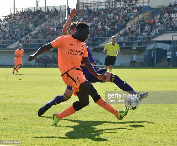 Bobby Adekanye of Liverpool crosses the ball during the UEFA Youth League group E match between NK Maribor and Liverpool FC at on October 17 2017 in...