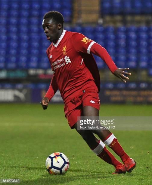 Bobby Adekanye of Liverpool during the Liverpool v Sparta Prague U23 Premier League International Cup game at Prenton Park on November 28 2017 in...