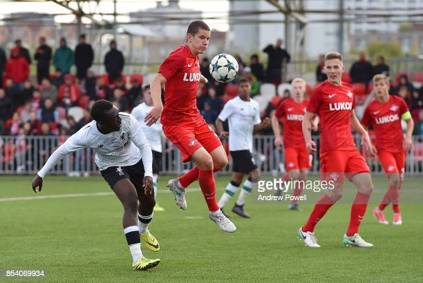 Bobby Adekanye of Liverpool during the UEFA Youth League match between Spartak Moskva and Liverpool FC at on September 26 2017 in Moscow Russia