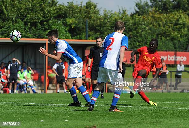 Bobby Adekanye of Liverpool has a long range shot on goal during the Liverpool v Blackburn U18 game at the Kirkby Academy on August 15 2016 in Kirkby...