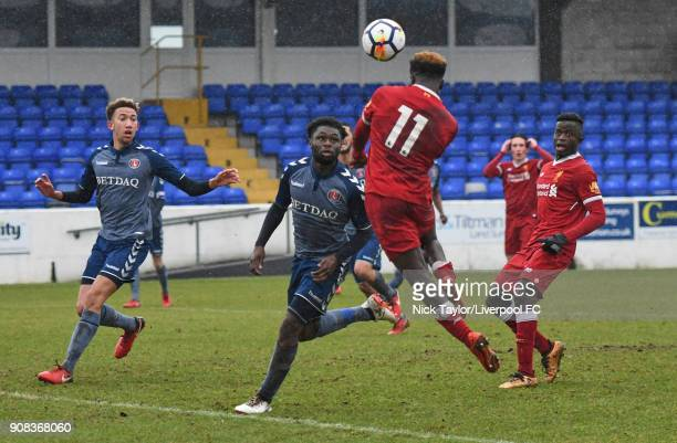 Bobby Adekanye of Liverpool scores his second goal of the game with his head during the Liverpool U23 v Charlton Athletic U23 Premier League Cup game...