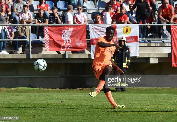 Bobby Adekanye of Liverpool scores the first goal for Liverpool during the UEFA Youth League group E match between NK Maribor and Liverpool FC on...