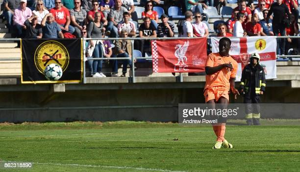 Bobby Adekanye of Liverpool scores the first goal for Liverpool during the UEFA Youth League group E match between NK Maribor and Liverpool FC at on...