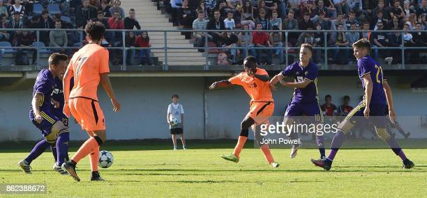 Bobby Adekanye of Liverpool scoring the fourth goal during the UEFA Youth League group E match between NK Maribor and Liverpool FC at on October 17...