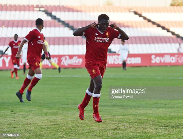 Bobby Adekanye of Liverpool U19 celebrates after scoring the fourth goal during the UEFA Champions League group E match between Sevilla FC U19 and...