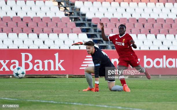 Bobby Adekanye of Liverpool U19 scores the fourth goal during the UEFA Champions League group E match between Sevilla FC U19 and Liverpool FC U19 at...