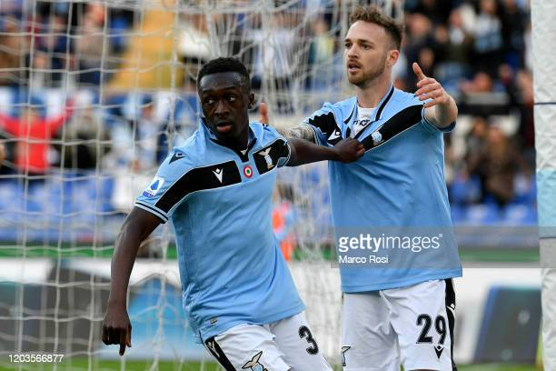 Bobby Adekanye of SS Lazio celebrates scoring his team's fifth goal during the Serie A match between SS Lazio and SPAL at Stadio Olimpico on February...