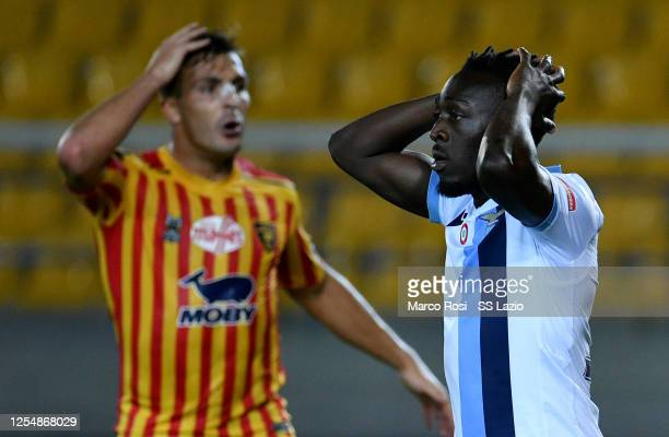 Bobby Adekanye of SS Lazio reacts during the Serie A match between US Lecce and SS Lazio at Stadio Via del Mare on July 07 2020 in Lecce Italy