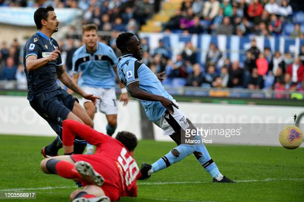 Bobby Adekanye of SS Lazio scores his team's fifth goal during the Serie A match between SS Lazio and SPAL at Stadio Olimpico on February 02 2020 in...