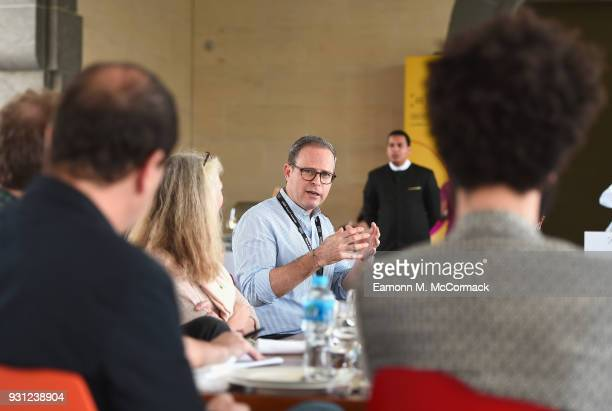 Bobby Allen from MUBI speaks during the working breakfast session 'How to Serve Niche Audiences for International Art House Films Beyond Festivals'...