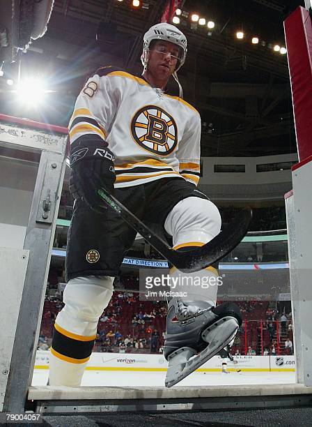 Bobby Allen of the Boston Bruins leaves the ice during warmups before the game against the Philadelphia Flyers on November 26 2007 at Wachovia Center...