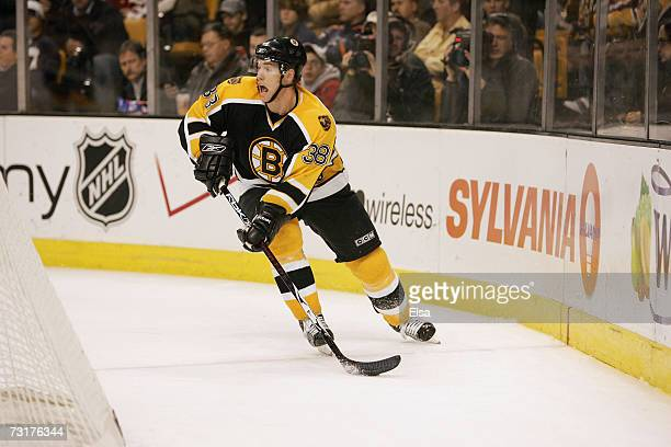 Bobby Allen of the Boston Bruins skates with the puck against the Pittsburgh Penguins on January 18 2007 at TD Banknorth Garden in Boston...