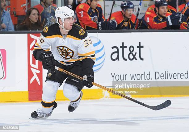 Bobby Allen of the Boston Bruins watches the play against the Florida Panthers at the TD Banknorth Garden on March 4 2008 in Boston Massachusetts