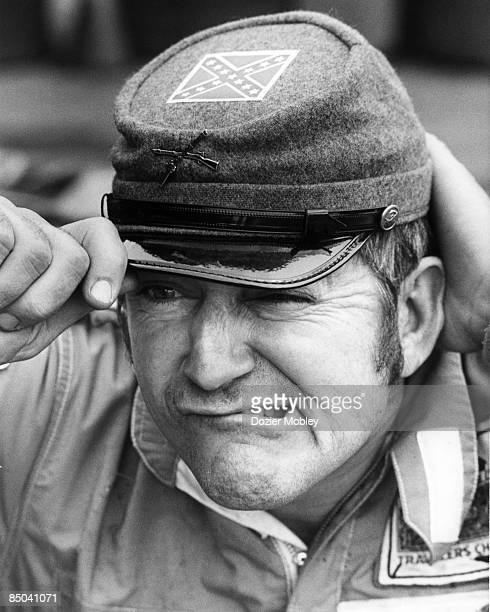 Bobby Allison hams it up prior to the Southern 500 race on September 4, 1972 at the Darlington Raceway in Darlington, South Carolina. Bobby then wins...