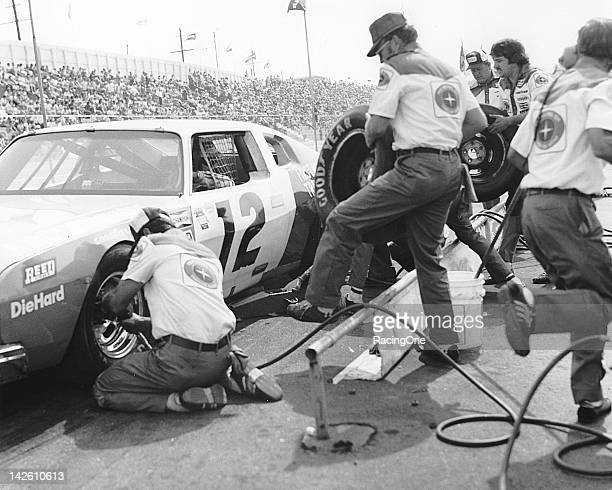 Bobby Allison pits his First National City Traveler's Checks AMC Matador during a NASCAR Cup race